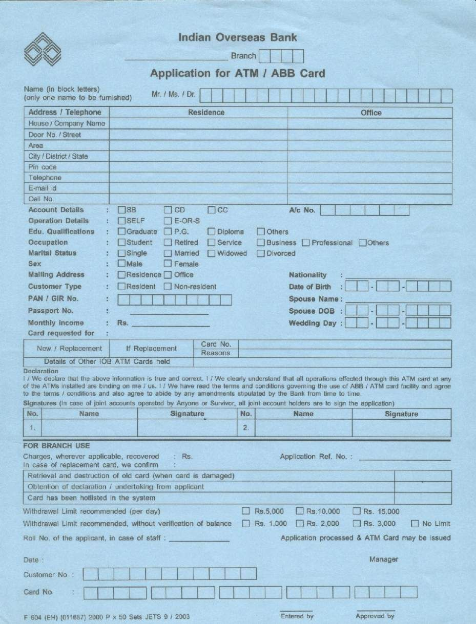 application for applying new atm card