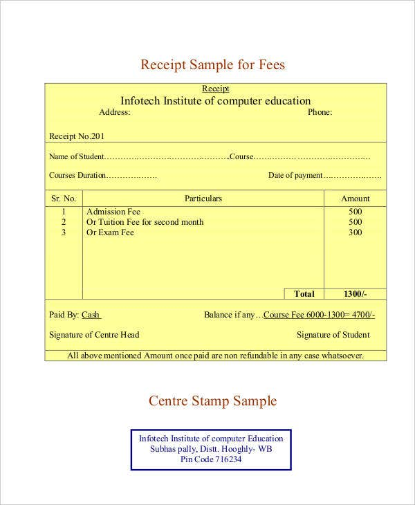 professional tax receipt application requirements