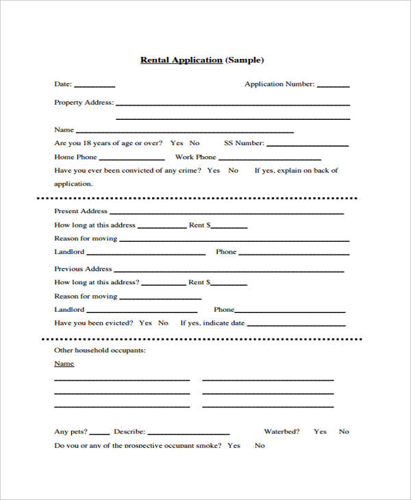 free application forms for rental application